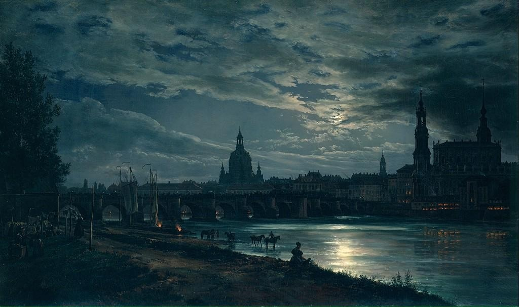 Johan Christian Dahl, View of Dresden by Moonlight (1839)